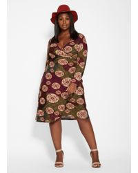 Ashley Stewart - Plus Size Printed Belted Wrap Dress - Lyst