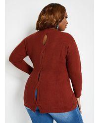 Ashley Stewart - Plus Size Keyhole Crossover Sweater - Lyst