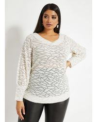 Ashley Stewart - Plus Size Metallic Abstract Sweater - Lyst