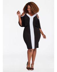 Ashley Stewart - Cold Shoulder Contrast Dress - Lyst