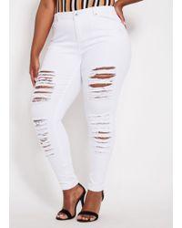 Ashley Stewart - Plus Size Destructed White Basic Skinny Jean - Lyst