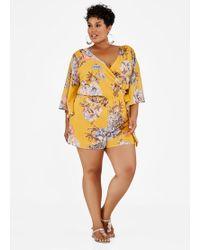 4c4733551c90 Ashley Stewart - Plus Size Surplice V Neck Floral Romper - Lyst