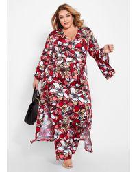 9b8b1c56967 Lyst - Ashley Stewart Plus Size Floral Walk Through Maxi Romper in Red