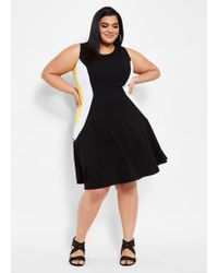 9cbb52a78ac Ashley Stewart - Plus Size Color Block Hourglass Skater Dress - Lyst