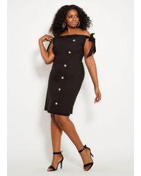 f301a09350f9b Lyst - Ashley Stewart Plus Size Me By Emme® Buckle Detail Sheath ...