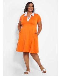 Plus Size A-line Colorblock Dress