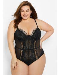 f2513fd4f Ashley Stewart Plus Size Crotchless Open Back Lace Bodysuit in Black ...