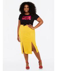 Ashley Stewart - Plus Size Double Slit Midi Skirt - Lyst