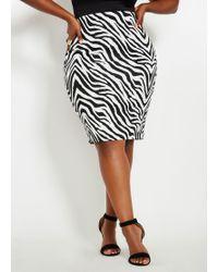 76b7e466775 Lyst - Ashley Stewart Plus Size Printed Scuba Pencil Skirt