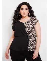 86990a89175 Ashley Stewart - Plus Size Color Block Animal Peplum Top - Lyst