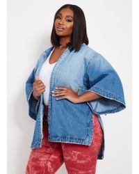 2a3b20b0e83 Ashley Stewart - Plus Size Wide Sleeve Denim Kimono Jacket - Lyst