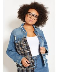 fbdb5ab5d0b Lyst - Ashley Stewart Plus Size Eyelet Ribbon Denim Jacket in Blue
