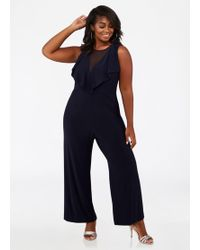 3c8620400f480 Lyst - Ashley Stewart Plus Size Lace Surplice Top Jumpsuit in Black