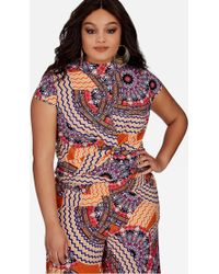 Ashley Stewart - Plus Size Moroccan Print Twist Front Top - Lyst