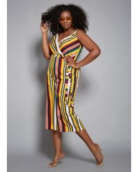ebfca0ce34cef Lyst - Ashley Stewart Plus Size Color Block Ruffle Jumpsuit in White