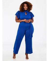 Lyst Ashley Stewart Plus Size Ruffle Sleeve Keyhole Jumpsuit In Blue