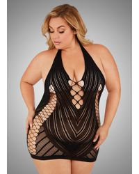 Ashley Stewart - Plus Size Crochet Halter Lingerie Dress - Lyst