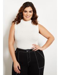 6b6bf185cb3 Lyst - Ashley Stewart Plus Size Surplice Ribbed Button Sweater in White