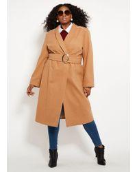 600bd309eae Lyst - Ashley Stewart Plus Size Double Lapel Belted Coat in Black