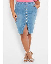 a84fd30b8 Ashley Stewart - Plus Size Slit Button Front Denim Skirt - Lyst
