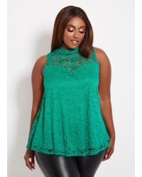 60204ff7798 Ashley Stewart - Plus Size Sleeveless Lace Mock Neck Swing Top - Lyst