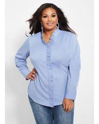 07b0c134f33 Ashley Stewart - Plus Size Ruffle Collar Button Shirt - Lyst