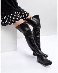 Mango - Leather Flat Knee High Boot - Lyst