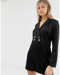 Reclaimed (vintage) - Inspired Tux Romper With Vintage Button Detail - Lyst
