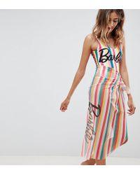 Missguided - Barbie Slogan Stripe Sarong - Lyst