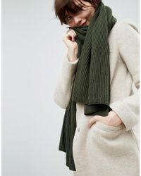 ASOS - Long Rib Knit Scarf In Recycled Polyester Mix - Lyst