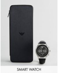 Emporio Armani - Connected Leather Smart Watch In Black Art5003 - Lyst