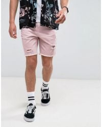 Bershka | Denim Shorts With Rips In Pink | Lyst