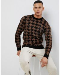 New Look - Oversized Jumper In Brown Dogstooth Print - Lyst