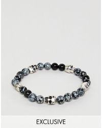 Reclaimed (vintage) - Inspired Black Beaded Bracelet With Skulls Exclusive To Asos - Lyst
