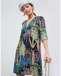 Traffic People - Tropical V Neck Shift Dress - Lyst