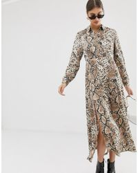 Pieces - Snake Print Maxi Dress - Lyst