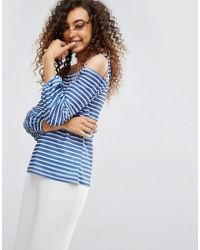 ASOS - Top In Stripe With Off Shoulder And Pretty Bell Sleeve - Lyst
