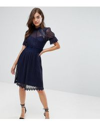 TFNC London - High Neck Pleated Lace Midi Dress With Smoked Waist - Lyst