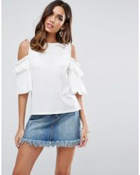 ASOS - Top In Crepe With Cold Shoulder Pretty Ruffle Puff Sleeve - Lyst