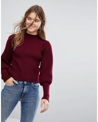 Bershka - Balloon Sleeve And Rib Knitted Jumper - Lyst