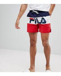 Fila   Black Line Swim Shorts With Panel Logo In Navy   Lyst
