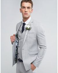 26c1f6fa5791ae ASOS - Asos Wedding Skinny Suit Jacket In Crosshatch Nep In Light Grey With  Floral Print
