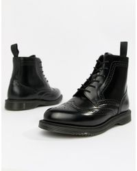 Dr. Martens - Delphine Brogue Black Leather Lace Up Flat Ankle Boots - Lyst