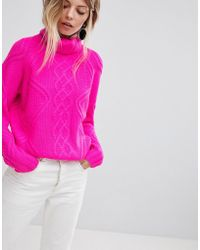 Oasis - Chunky Cable Knit Roll Neck Sweater - Lyst