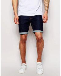 ASOS - Super Skinny Denim Shorts In Indigo - Lyst