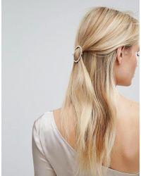 Orelia - Crystal Open Circle Hair Clip - Lyst
