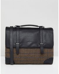 ASOS - Design Satchel In Black With Internal Laptop Pouch In Check Print Melton - Lyst