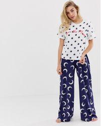 91a29cf3e ASOS Asos Design Maternity Bun In The Oven Tee & Wide Leg Pajama Set ...
