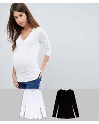 ASOS - Asos Design Maternity Ultimate Top With Long Sleeve And V-neck 2 Pack Save - Lyst