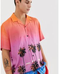 ASOS Relaxed Fit Shirt In Hawaiian Palm Print With Gems